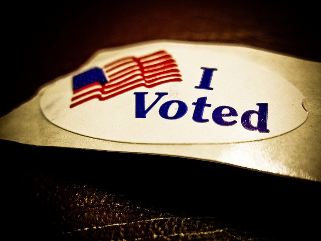 I Voted (by flickr user Vox Efx , https://creativecommons.org/licenses/by/2.0/legalcode)